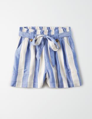 AE Полосатые шорты с высокой талией фасона