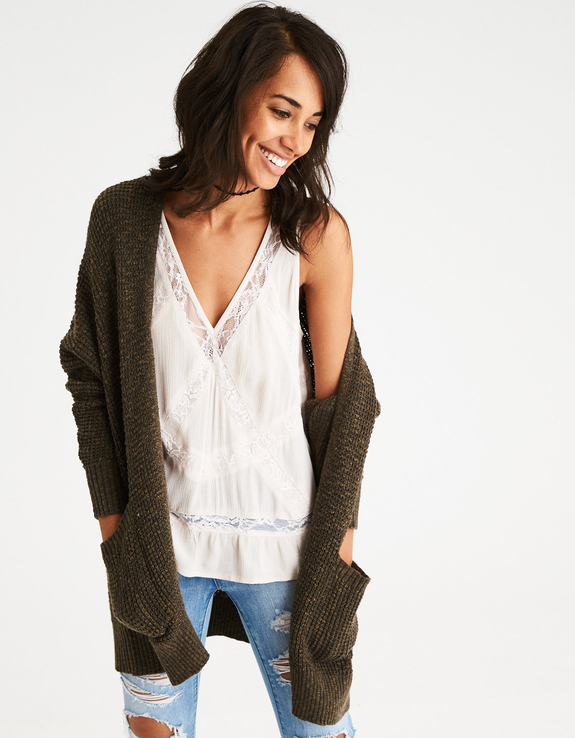 AE Waffle Knit Boyfriend Cardigan, Olive   American Eagle Outfitters
