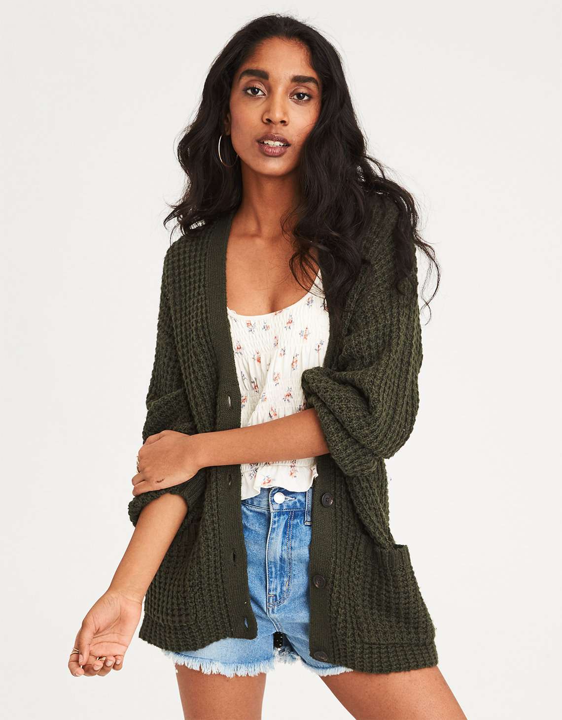AE Slouchy Waffle Cardigan Sweater. Placeholder image. Product Image 9bad2d94d