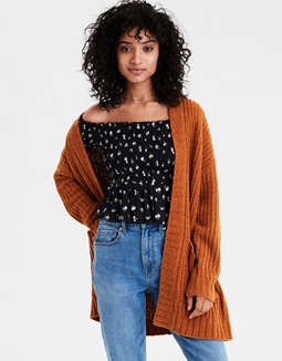 AE Ribbed Boyfriend Cardigan