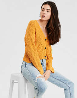 AE Mix Stitch Cropped Cardigan