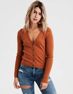 AE Ribbed Cropped Cardigan