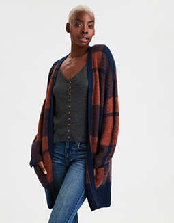 AE Oversized Plaid Cardigan