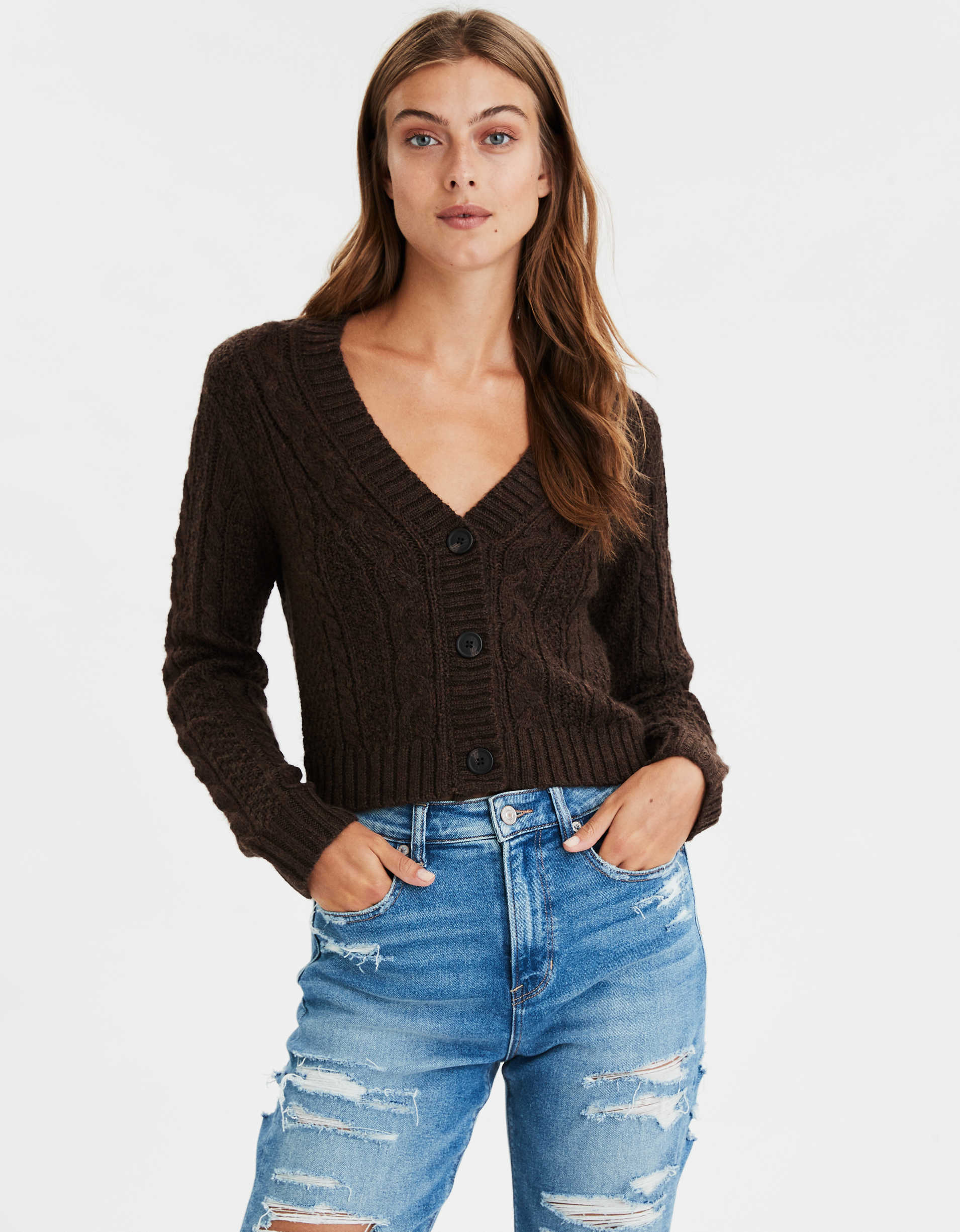 AE Cropped Cable Knit Cardigan