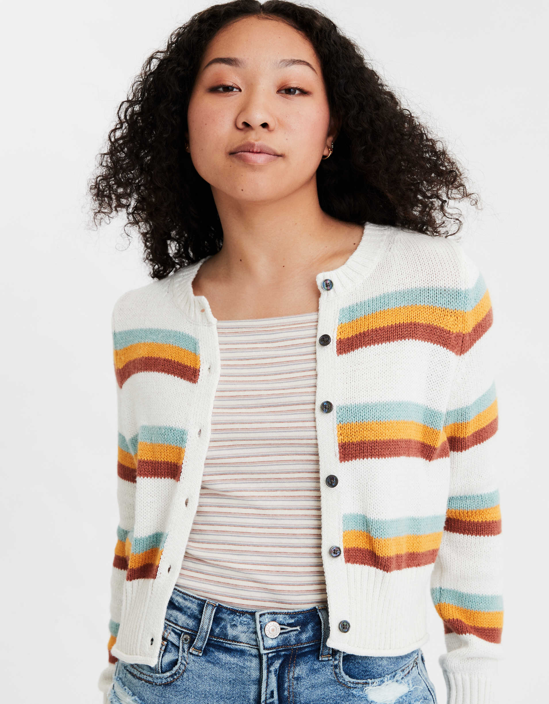 AE Striped Button Up Cropped Cardigan