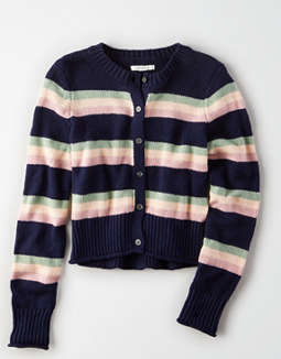 AE Striped Cropped Cardigan