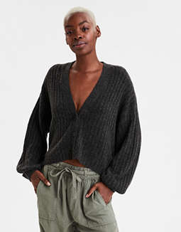 AE Button Front Cropped Cardigan