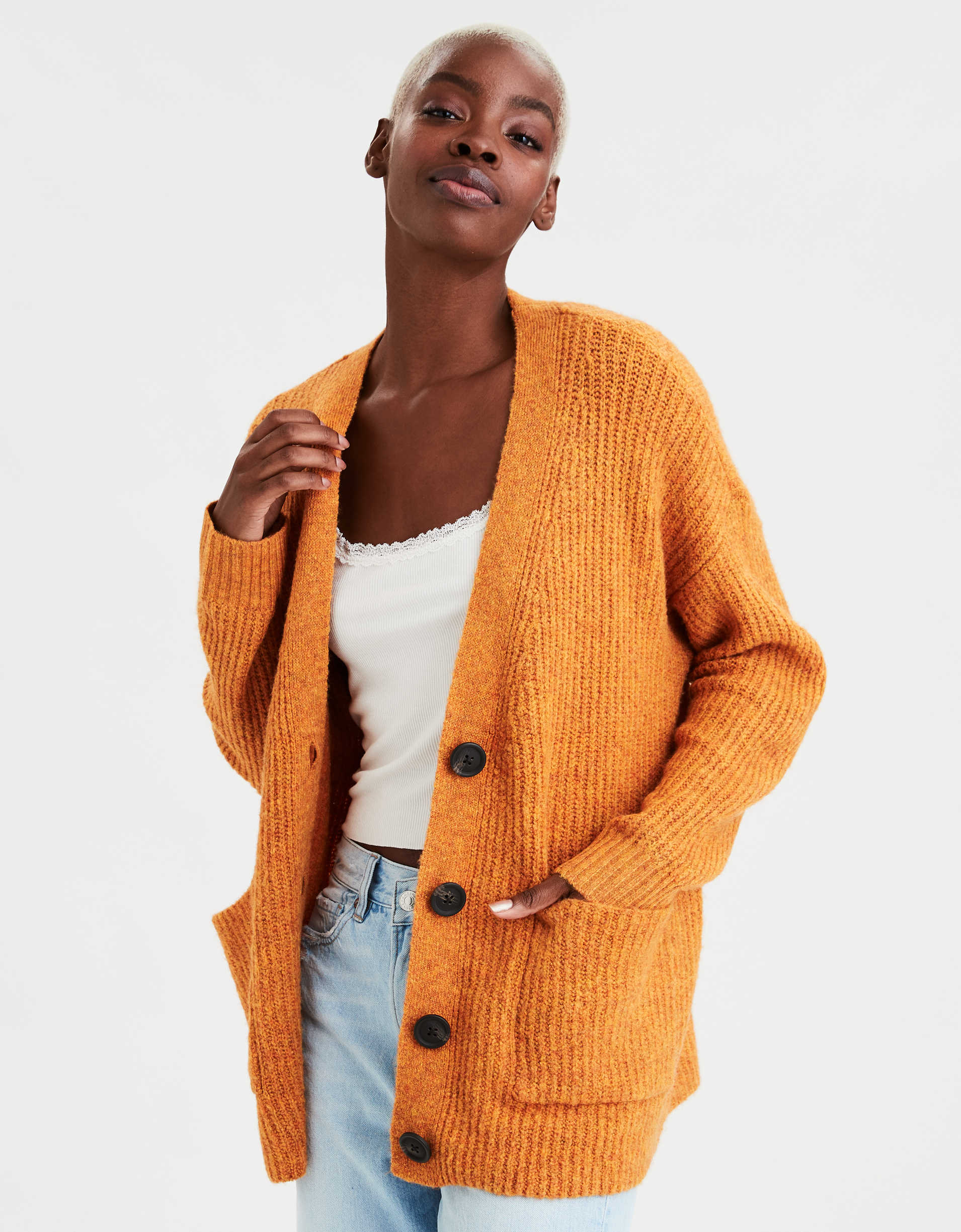 AE Button Up Long Cardigan