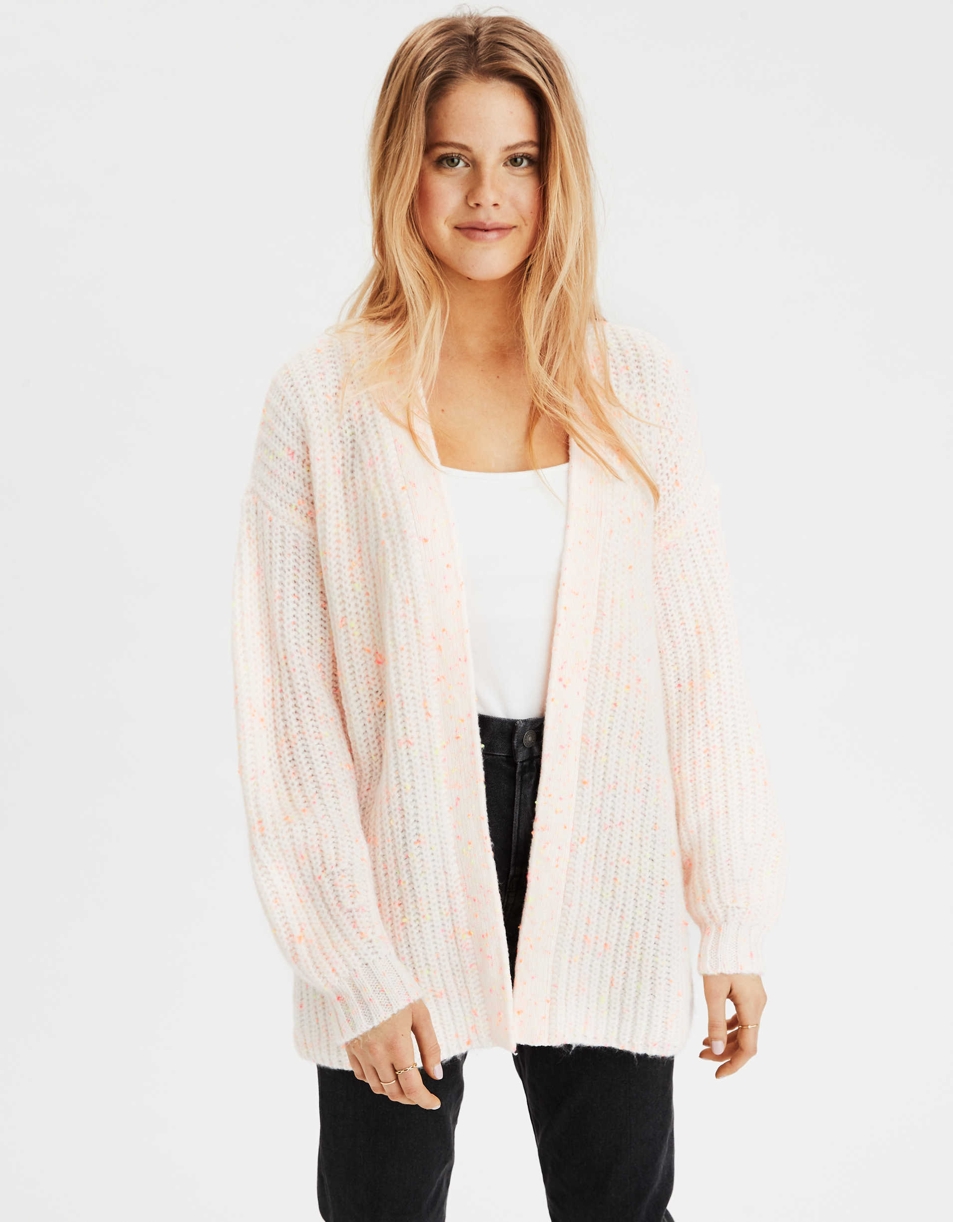 Cardigan long peu structuré AE