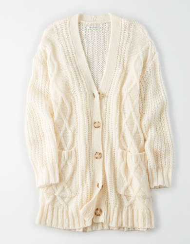 AE Oversized Cable Knit Button Up Cardigan