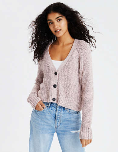 AE Boxy Cropped Button Up Cardigan