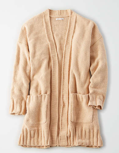 AE Chenille Open Front Long Cardigan