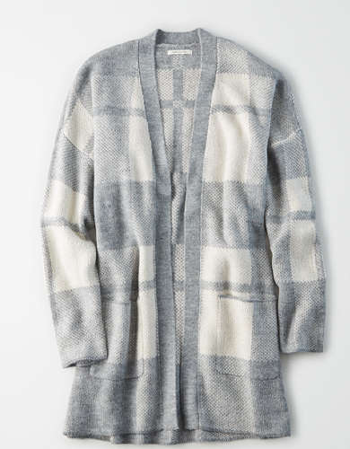 AE Plaid Long Cardigan