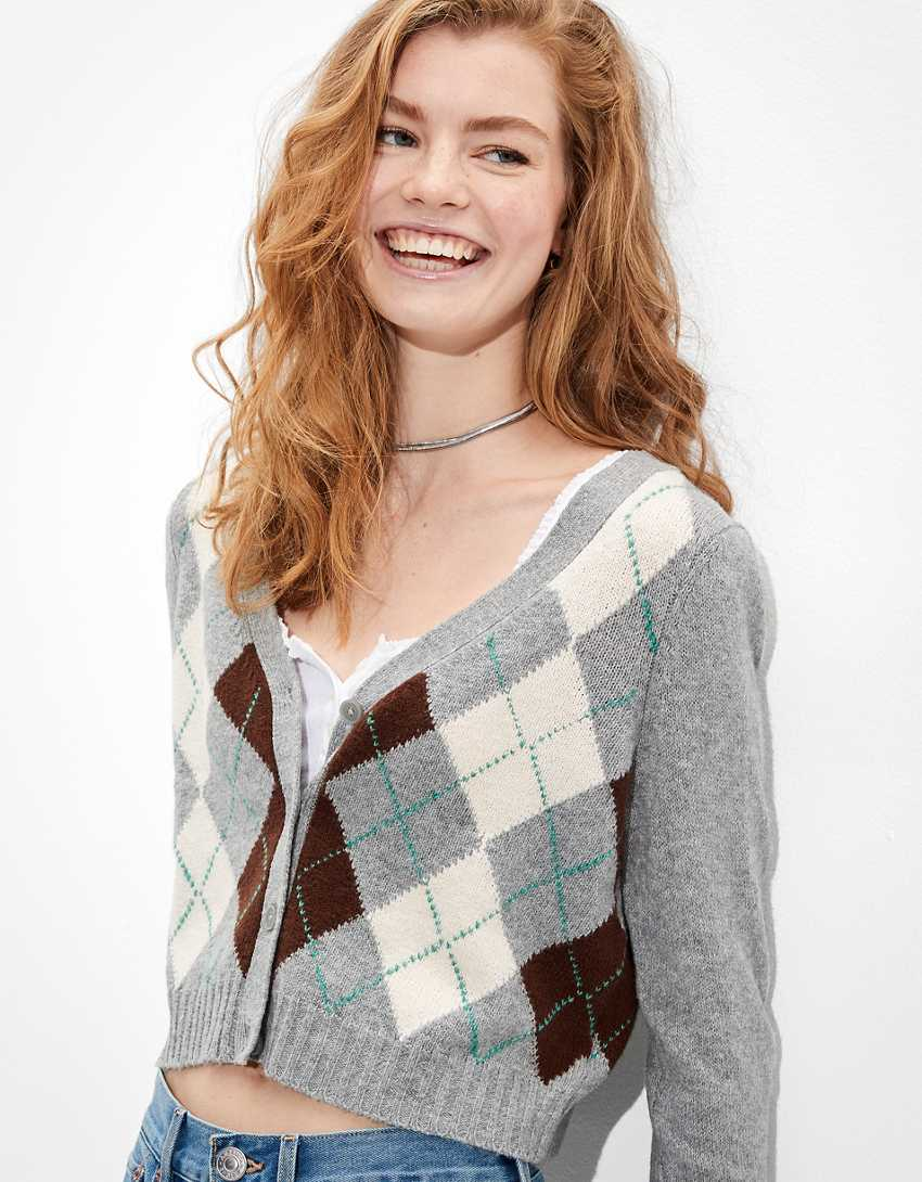 AE Cropped Argyle Button-Up Cardigan