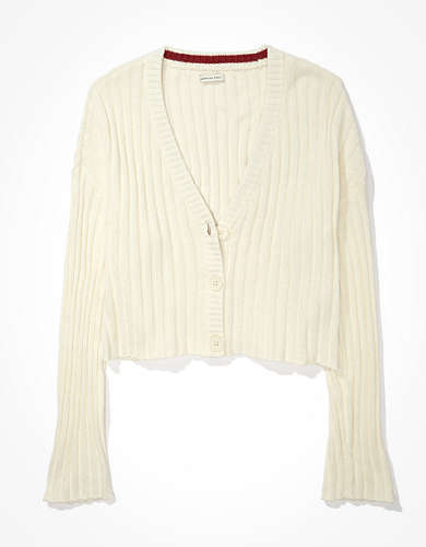 AE Cropped Boxy Button-Up Cardigan