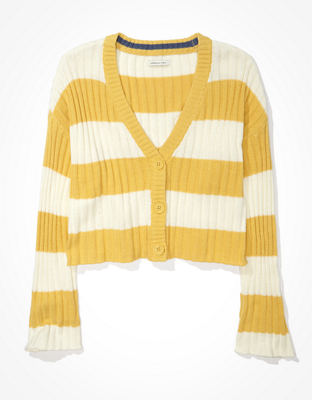 AE Striped Cropped Boxy Button-Up Cardigan