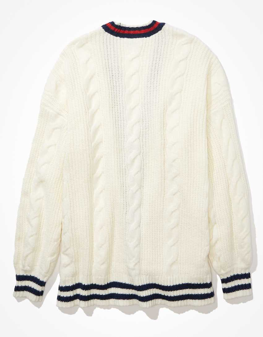 AE Oversized Cable Knit Button-Up Cardigan