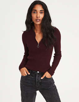 Ae Ribbed Half Zip Pullover Sweater by American Eagle Outfitters