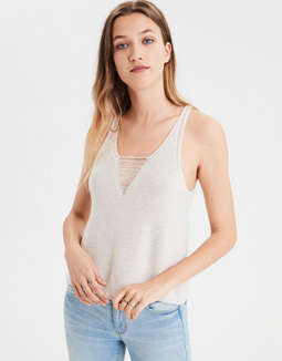 Ae V Neck Cage Knit Sweater Tank Top by American Eagle Outfitters