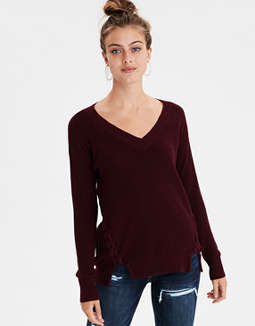 b8f6b6cd599 AMERICAN EAGLE OUTFITTERS. AE SIDE LACE-UP V-NECK PULLOVER SWEATER