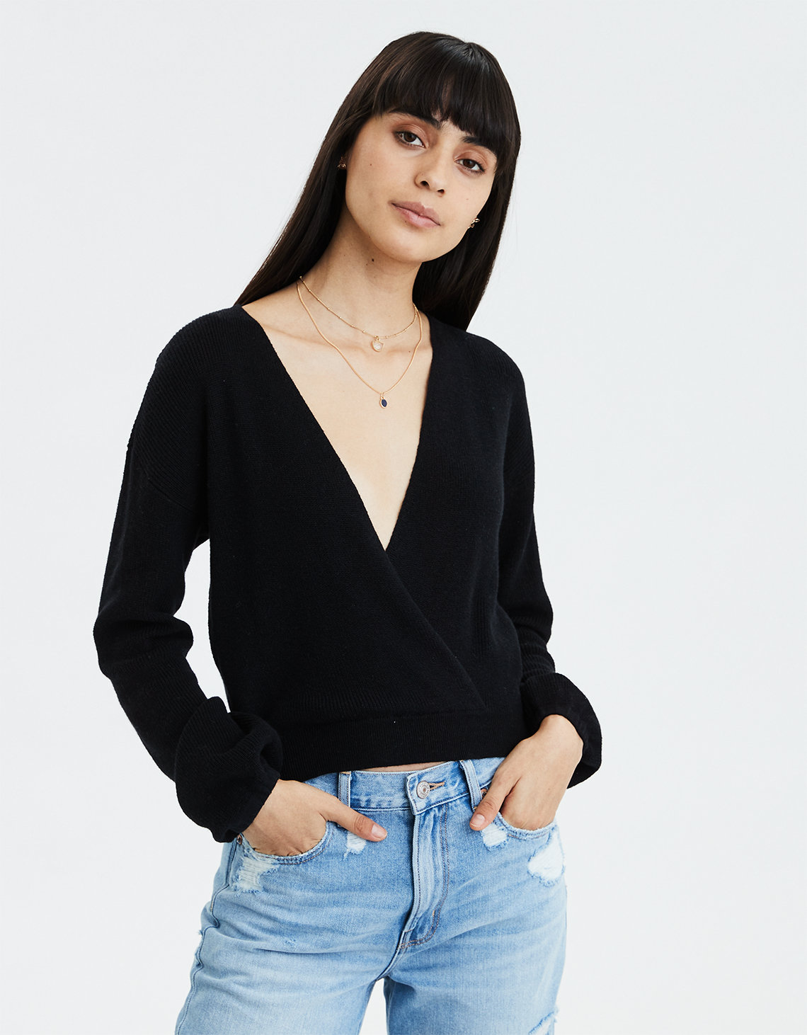deb0a2ba6e54e9 AE Cropped Surplice Sweater. Placeholder image. Product Image