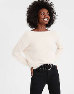 Ae Open Back Eyelash Pullover Sweater by American Eagle Outfitters