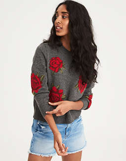 Ae Floral Graphic Pullover Sweater by American Eagle Outfitters