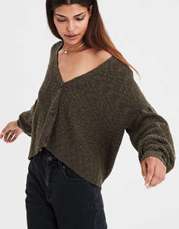 Ae Cropped Balloon Sleeve Cargian by American Eagle Outfitters