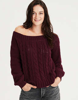 Ae Off The Shoulder Cable Knit Pullover Sweater by American Eagle Outfitters