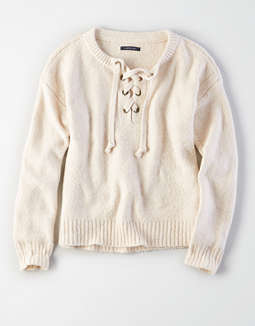 Ae Chunky Lace Up Pullover Sweater by American Eagle Outfitters