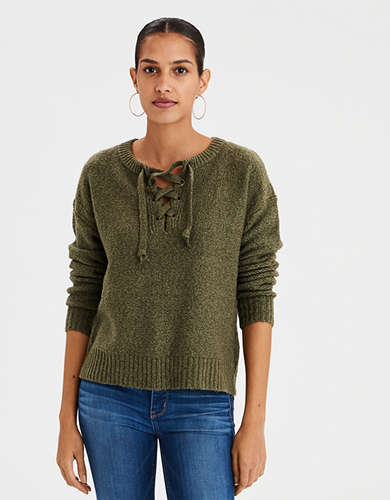 AE V-Neck Lace Up Sweater