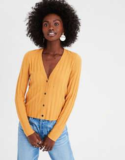 Ae Cropped Rib Cardigan by American Eagle Outfitters