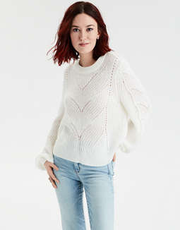 AE Pointelle Crew Neck Sweater