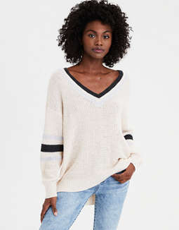 Ae Sporty Oversized V Neck Pullover Sweater by American Eagle Outfitters