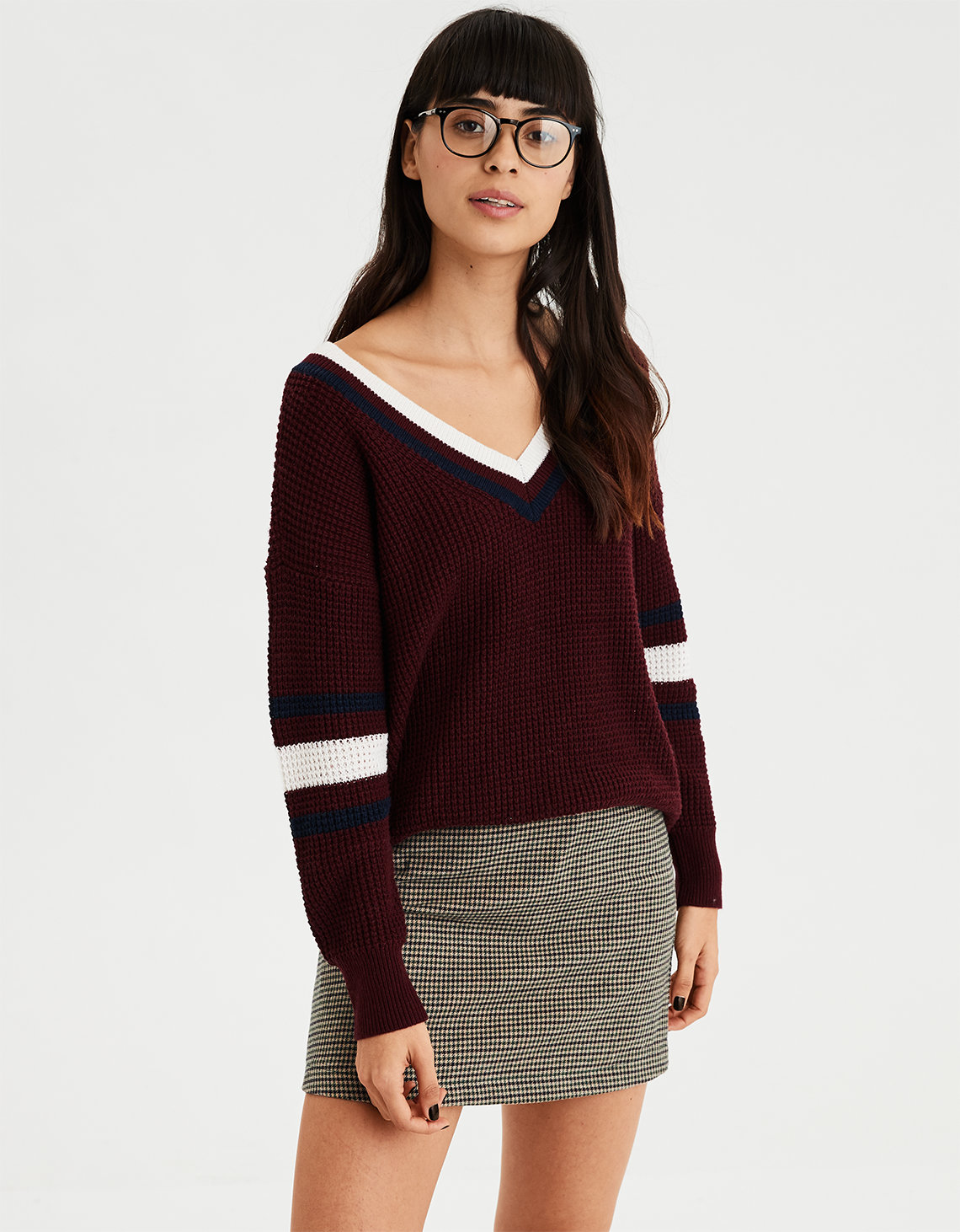 AE Sporty Oversized V-Neck Pullover Sweater