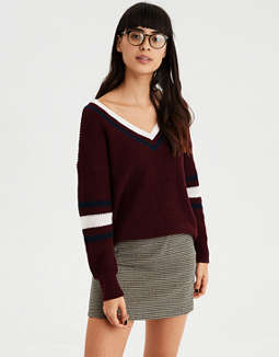 43649d9a1385 placeholder image AE Sporty Oversized V-Neck Pullover Sweater ...