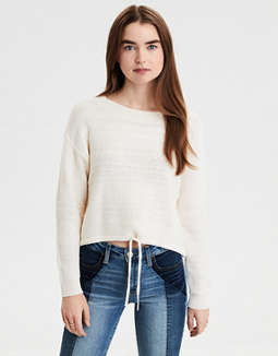 AE Cinch Waist Crew Neck Sweater