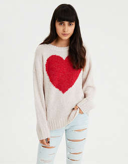 Ae Graphic Heart Pullover Sweater by American Eagle Outfitters
