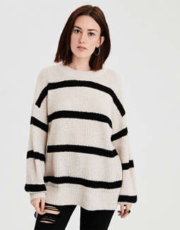 Ae Balloon Sleeve Waffle Knit Pullover Sweater by American Eagle Outfitters