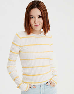 Ae Striped Bodycon Ribbed Pullover Sweater by American Eagle Outfitters