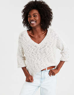 AE Textured V-Neck Pullover Sweatshirt