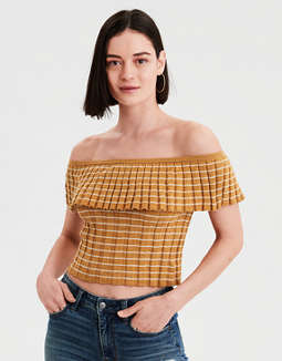 AE Off-The-Shoulder Ruffle Tube Top