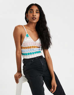 AE Crochet Cropped Tank Top