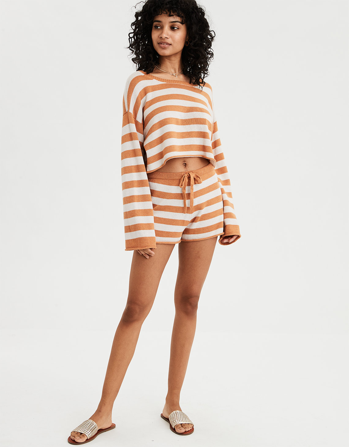 AE Long Sleeve Stripe Pullover Sweater