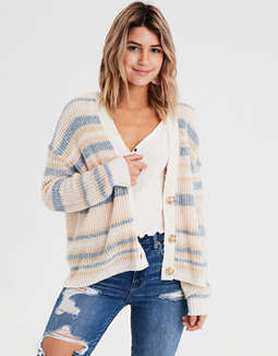 AE Slouchy Stripe Button Cardigan