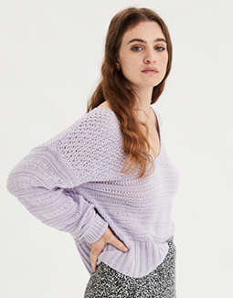 AE Mixed Stitch Pullover Sweater