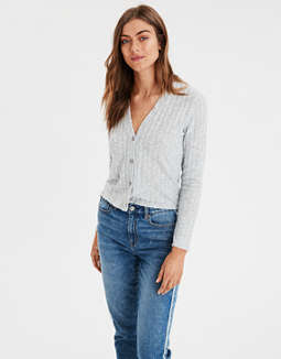 Ae Plush Wide Ribbed Cardigan by American Eagle Outfitters