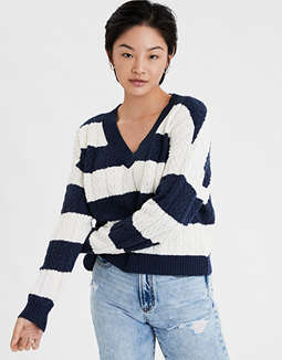 AE Striped V-Neck Cable Sweater