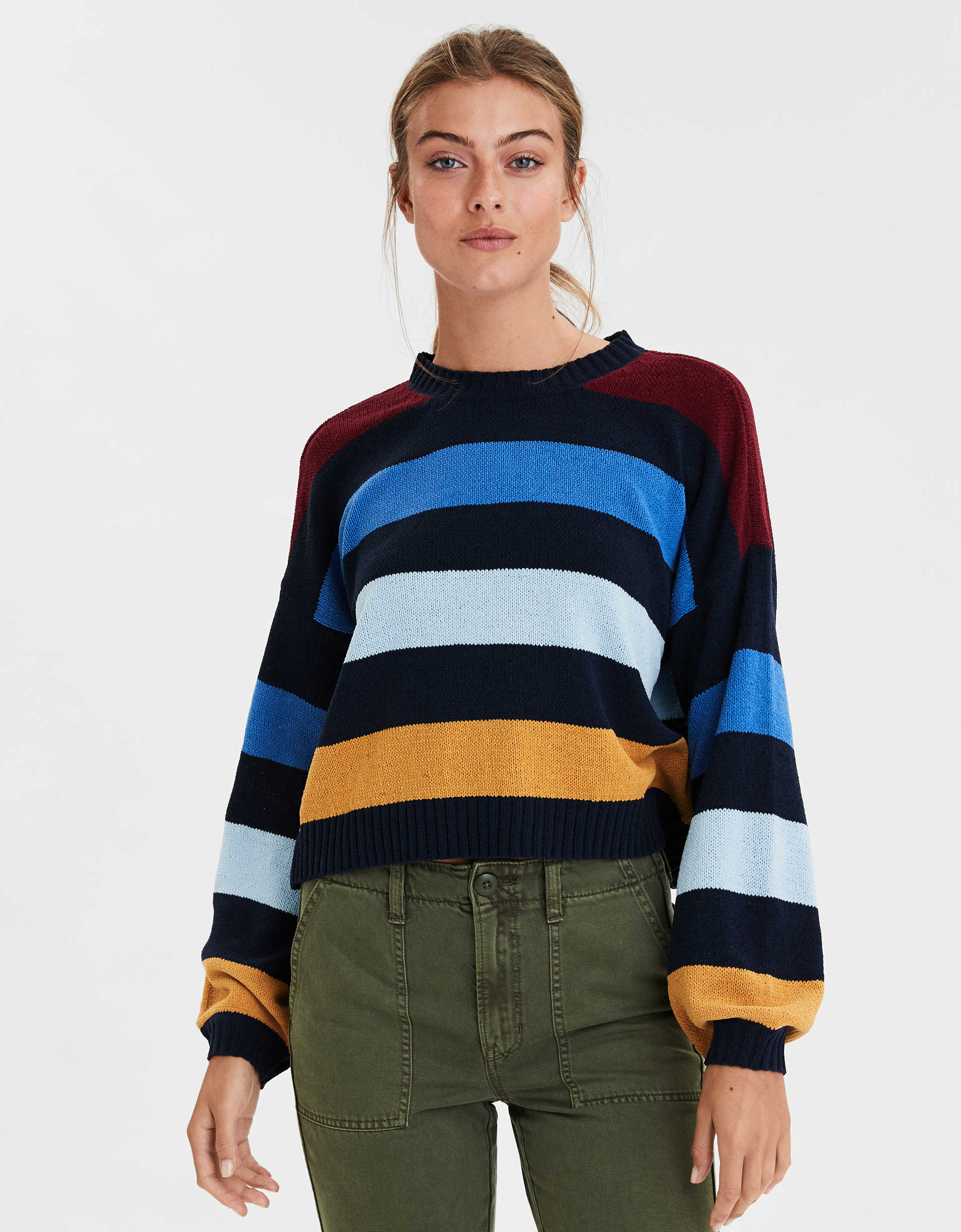 AE Striped Chenille Crew Neck Sweater