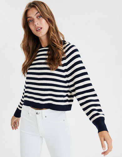 AE Striped Cropped Hooded Sweater